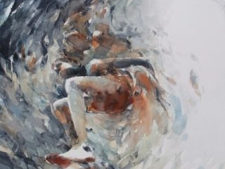 Man and fish 3, watercolour on paper 76 x 56cm