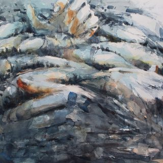Man and fish 4 watercolour on paper 76 x 56 cm