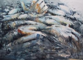 Man and fish 4 watercolour on paper 76 x 56cm