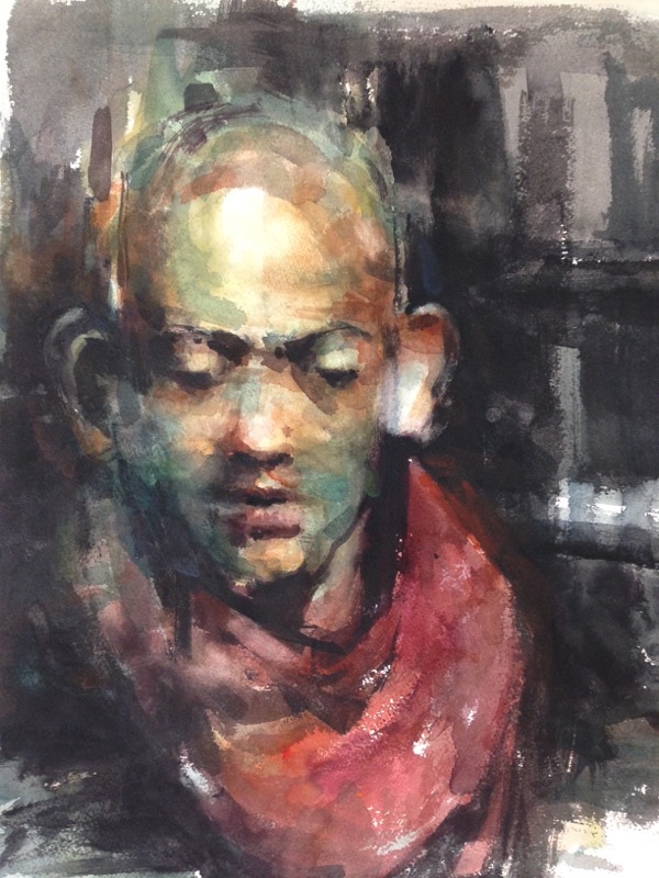 Man in red scarf watercolour on paper 56 x 38cm