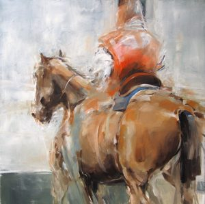 Man on red horse oil on canvas 92 x 92 cm,