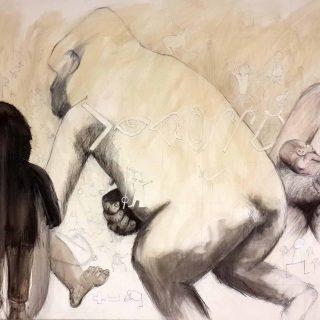 Mbeli & mjukuu pencil, charcoal, ink & shellac on canvas 122 x183cm