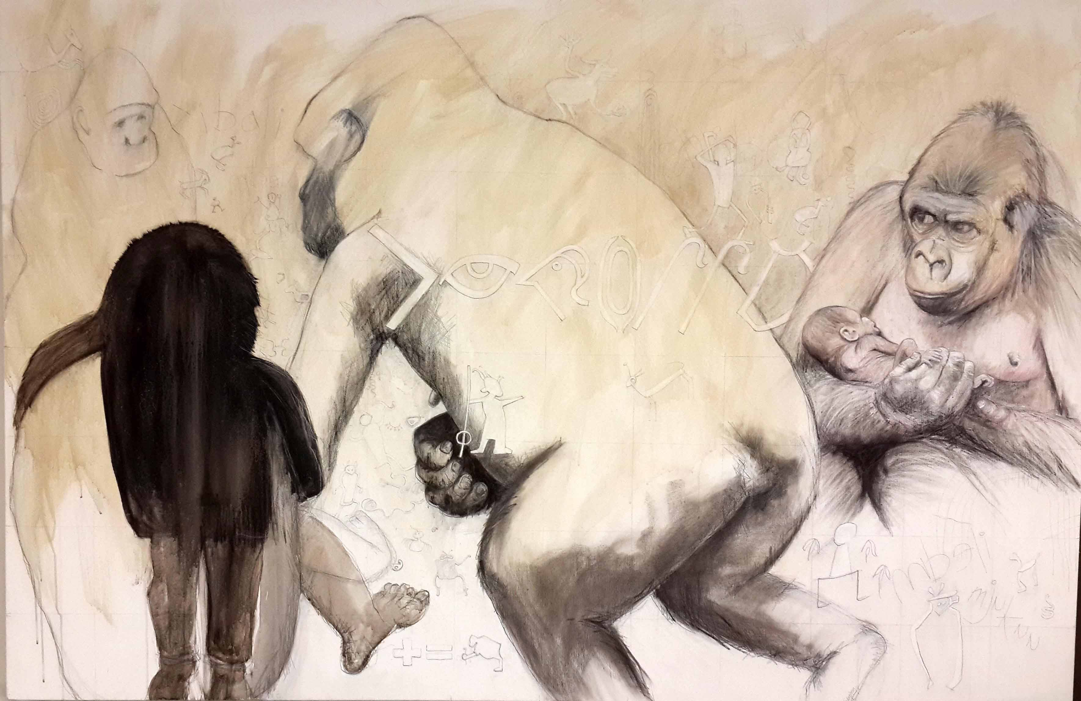 Mbeli & mjukuu pencil, charcoal, ink & shellac on canvas 122 x183cm