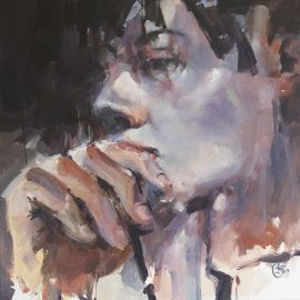 Meditation tribute to rodin oil on canvas 76 x 76cm