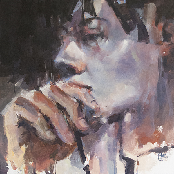 Meditation tribute to rodin oil on canvas 76 x 76cm