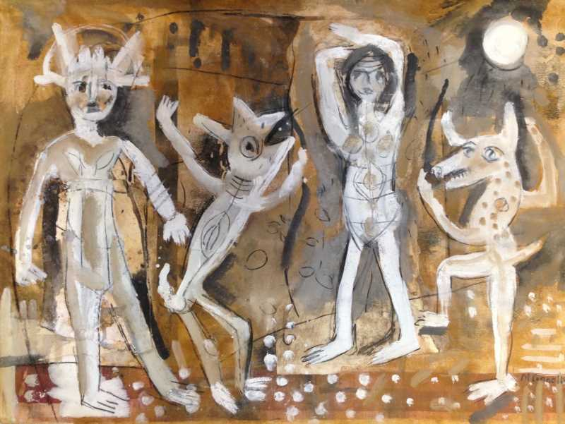 Mud family gesso, ink, pigment on paper 57 x 76cm