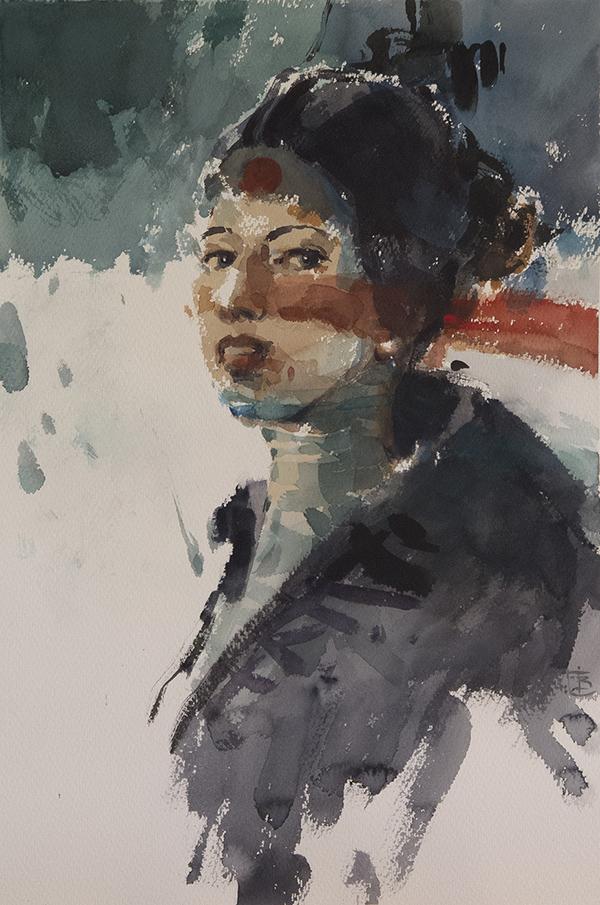 Not Quite Japanese, watercolour, 56 x 38cm
