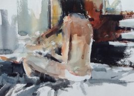 Nude 1 watercolour on paper 56 x 38cm