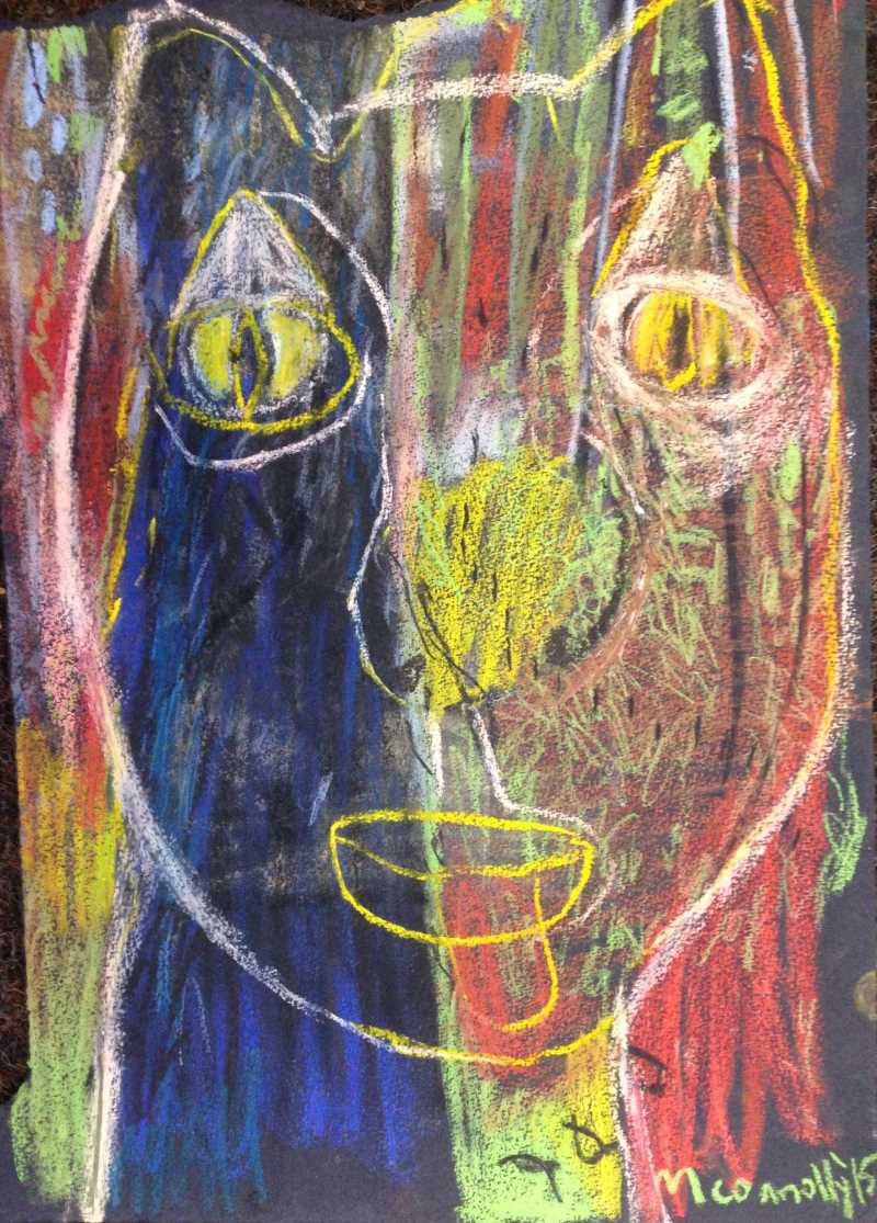 Once an emu now a clown pastel on paper 39 x 27cm