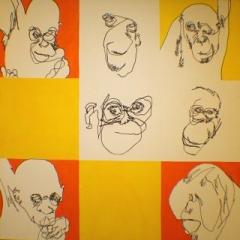 Orangutan pop ink & gauche on canvas 1 22x1 22m