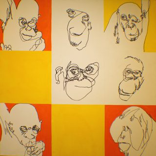 Orangutan pop ink & gauche on canvas 1 22x1 22m