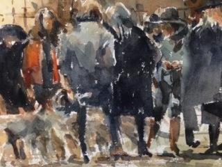 Parisian watercolour on paper 56 x 38cm