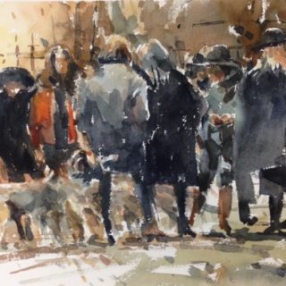 Parisian watercolour on paper 56 x 38cm
