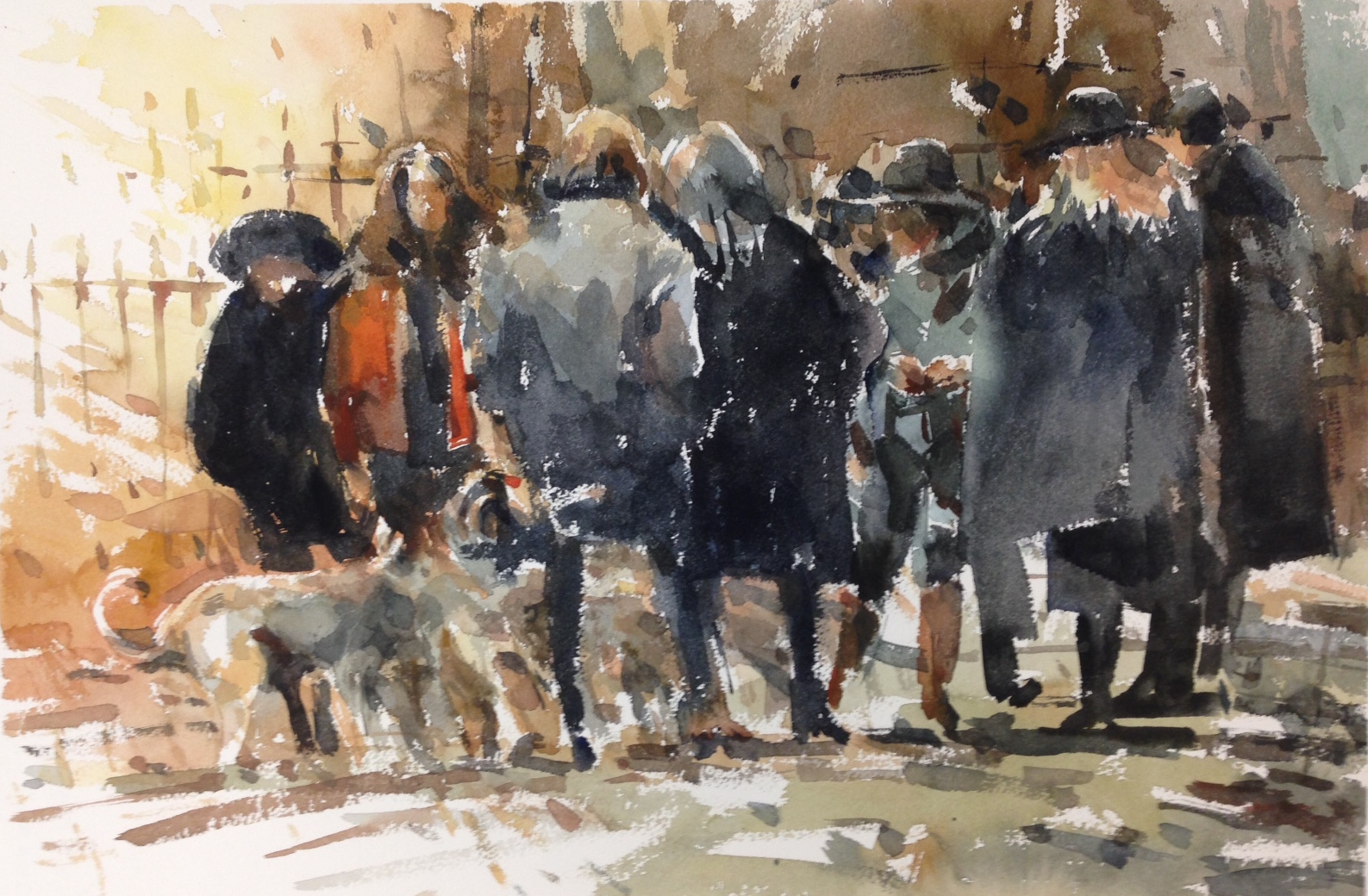 People gathering 1 watercolour on paper 56 x 38cm