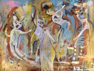 Playing with friends oil on canvas 77 x 102cm