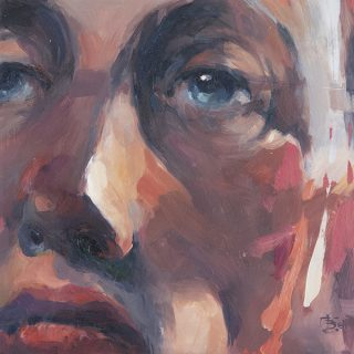 Portrait of a man, oil on board, 30 x 30cm