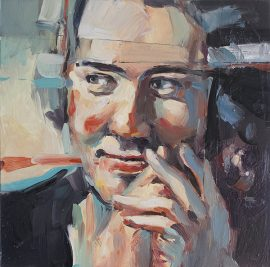 Portrait of a young man, oil on board, 30 x 30cm