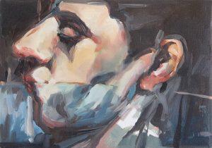 Portrait of imaginery friend fk, oil on linen,46 x 65cm
