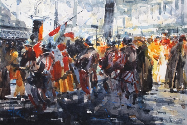 Procession in florence watercolour on paper 56 x 38cm