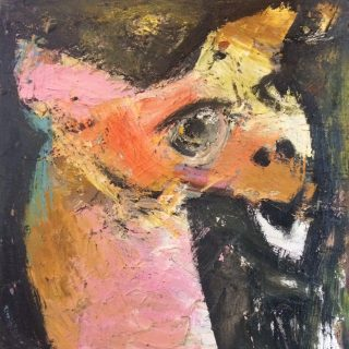 Puppet, talk to me oil on canvas 31 x 31cm