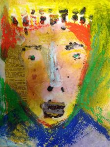 Red head king mixed media on paper 29 x 24cm