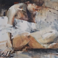 Seated watercolour on paper 70 x 50cm