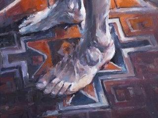 Self Portrait on rug oil on canvas 51 x 41cm