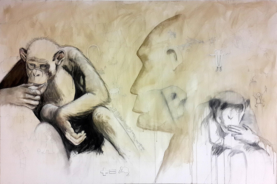 Shiba & sudi pencil, charcoal, ink & shellac on canvas 122 x 183cm