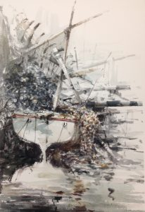 Small fishing boat 2 watercolour on paper 56 x 38cm