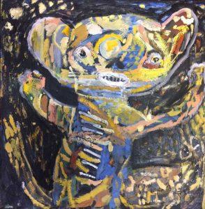 Spirit bear oil & encaustic on panel 61 x 61cm