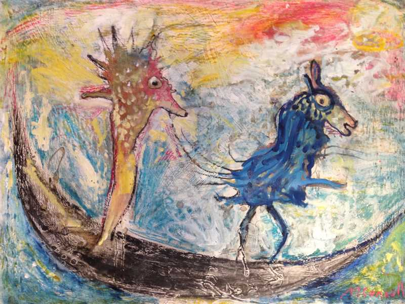 Spirit friends oil & encaustic on paper 57 x 76cm