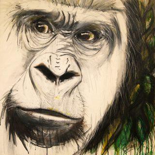 Talk 2 me 2! charcoal & acrylics on canvas 76 x 76cm