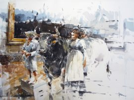 Day at The Louvre 1 watercolour on paper 76 x 56cm