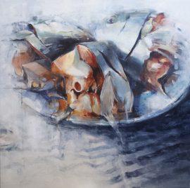 Three heads oil on canvas 92 x 92cm