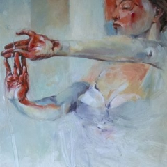 Woman in red oil on canvas 61 x 51cm