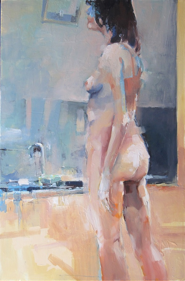 Woman with mirror oil on canvas 61 x 91cm