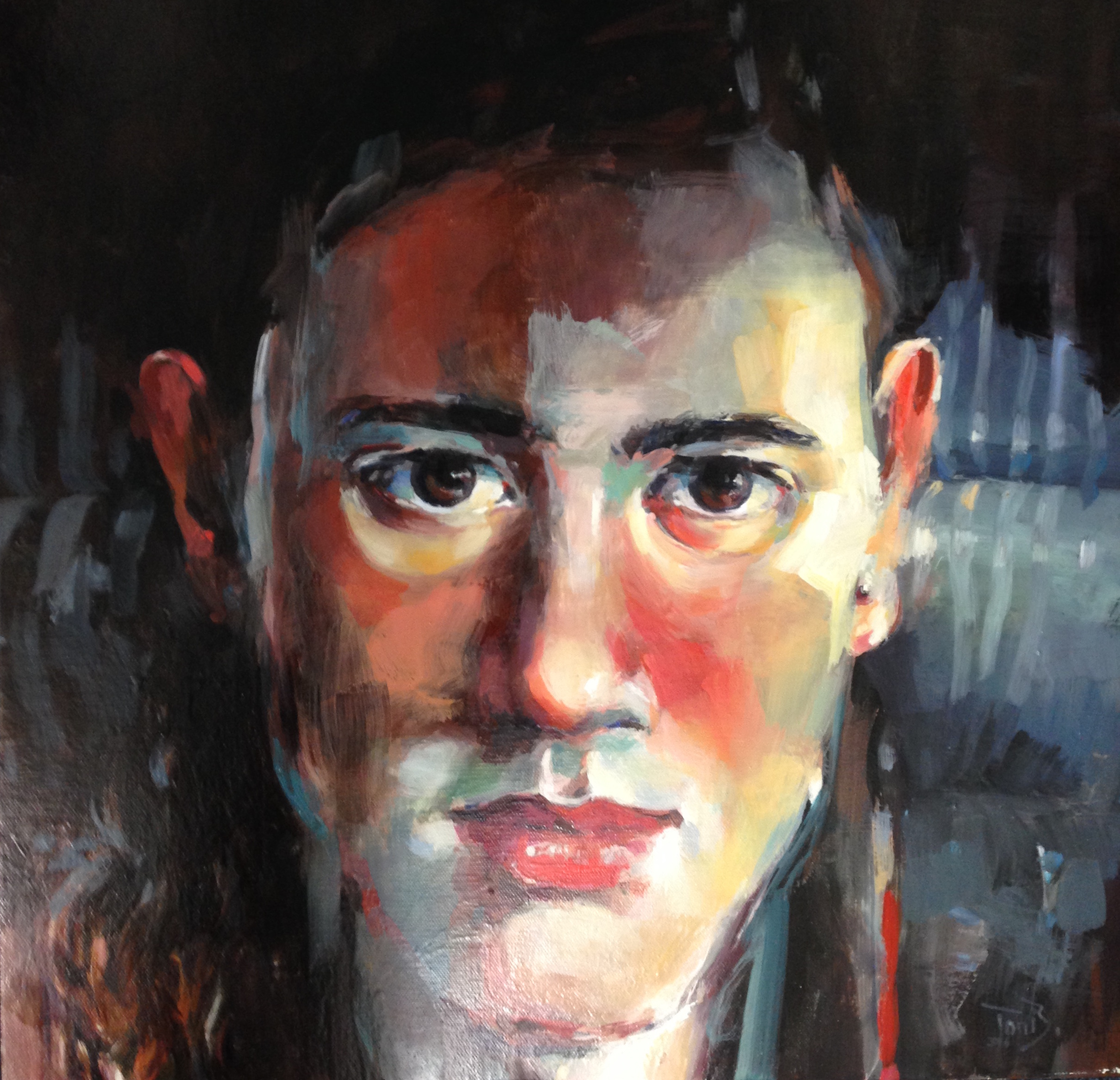 Young man close up oil on canvas 61 x 61cm