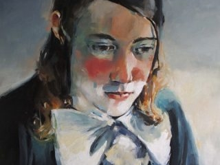 Young man with bow tie oil on canvas 102 x 102cm