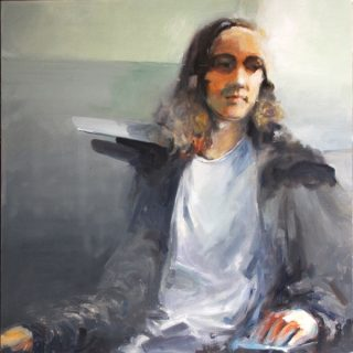 Young man with shield oil on canvas 102 x 102cm