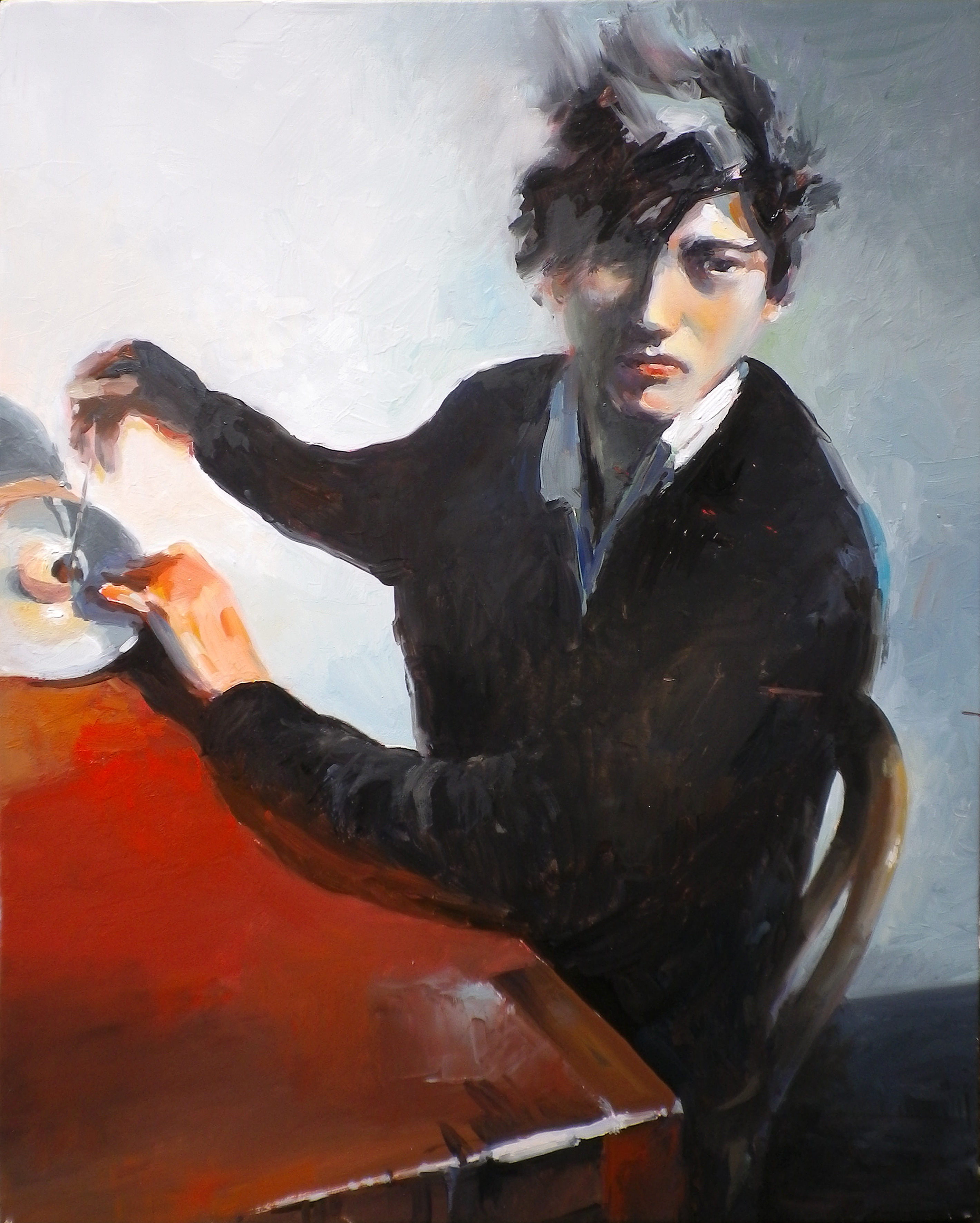 Young man sitting oil on wood 41 x 51cm (framed)