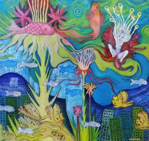 Angels, fish & ghosts 2002, oil on board, 75x80cm