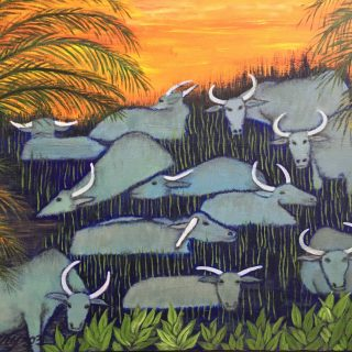 Buffalos & palm trees2