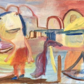 By the sea 50 x 25cm oil on board