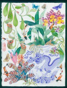 Garden of eden 3 watercolour and gouache on arches paper, 24 x 39 cm
