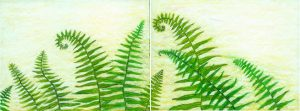 Green leaves 2 pastel on paper 25 x 9in