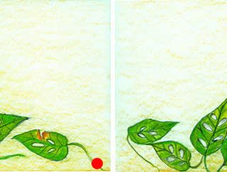 Green leaves 3 pastel on paper 25 x 9in