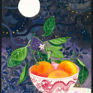 Hungry ghosts watercolour and gouache on arches paper, 18 x 27cm