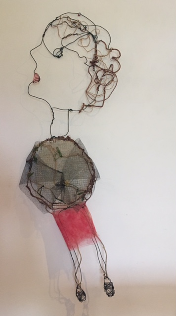Opening night wire and naturally dyed textile, 72 x 30cm