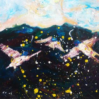 Swallows dreaming oil on canvas 40 x 45cm