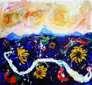 Wollumbin serpent oil on canvas 44 x 45cm